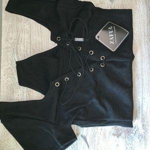 Zaful U Neck Lace Up Ribbed Bodysuit Black